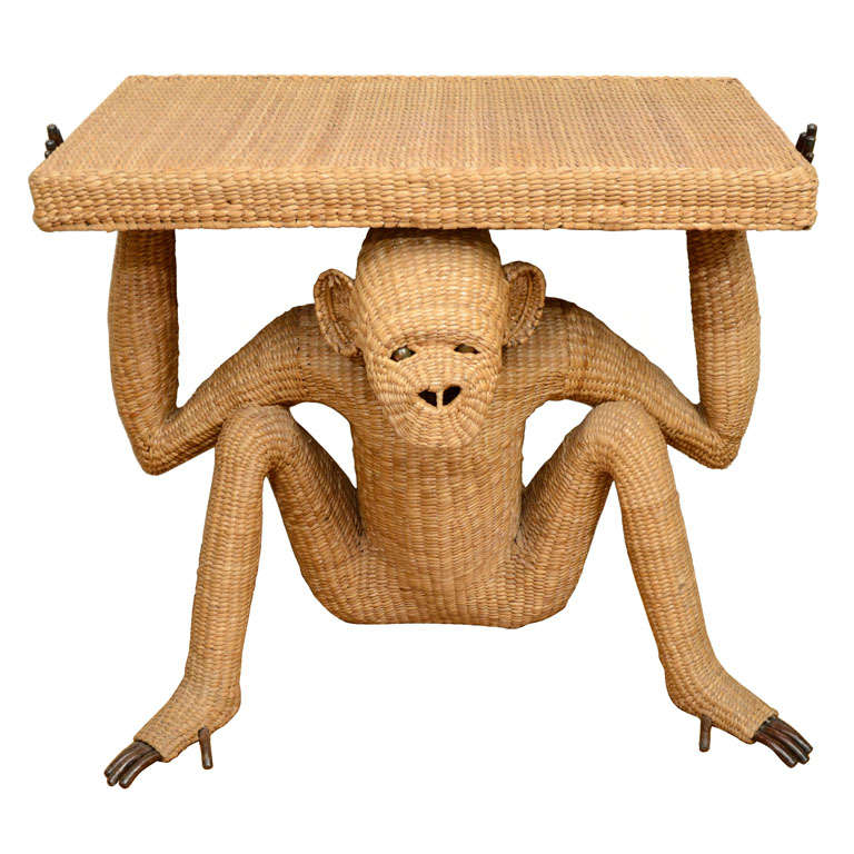 Rare Wicker Monkey Console Table By Mario Lopez Torres 1