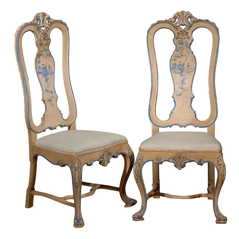 Antique Set Of William And Mary Style Painted Side Chairs 1