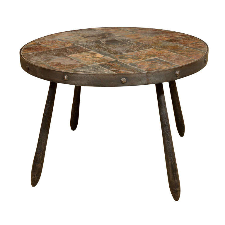 Round Slate Top Iron Table At 1stdibs