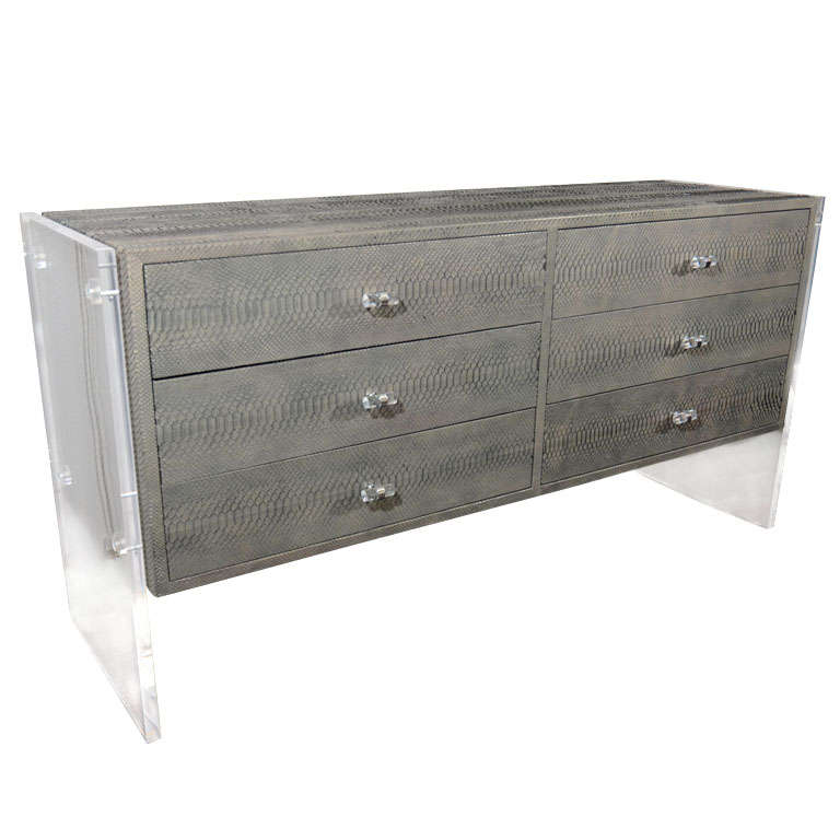 Custom Grey Gun Metal Python Dresser with Lucite Side Panels