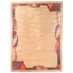 Open Field Ivory Art Deco Chinese Rug, 1930s