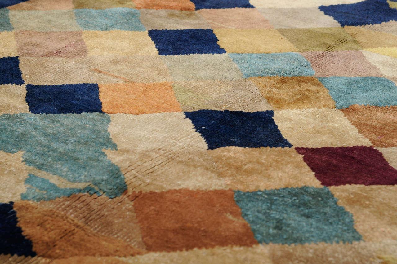 Art Deco Carpet with Polychrome Lozenges For Sale