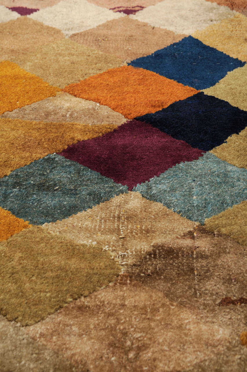 Chinese Carpet with Polychrome Lozenges For Sale