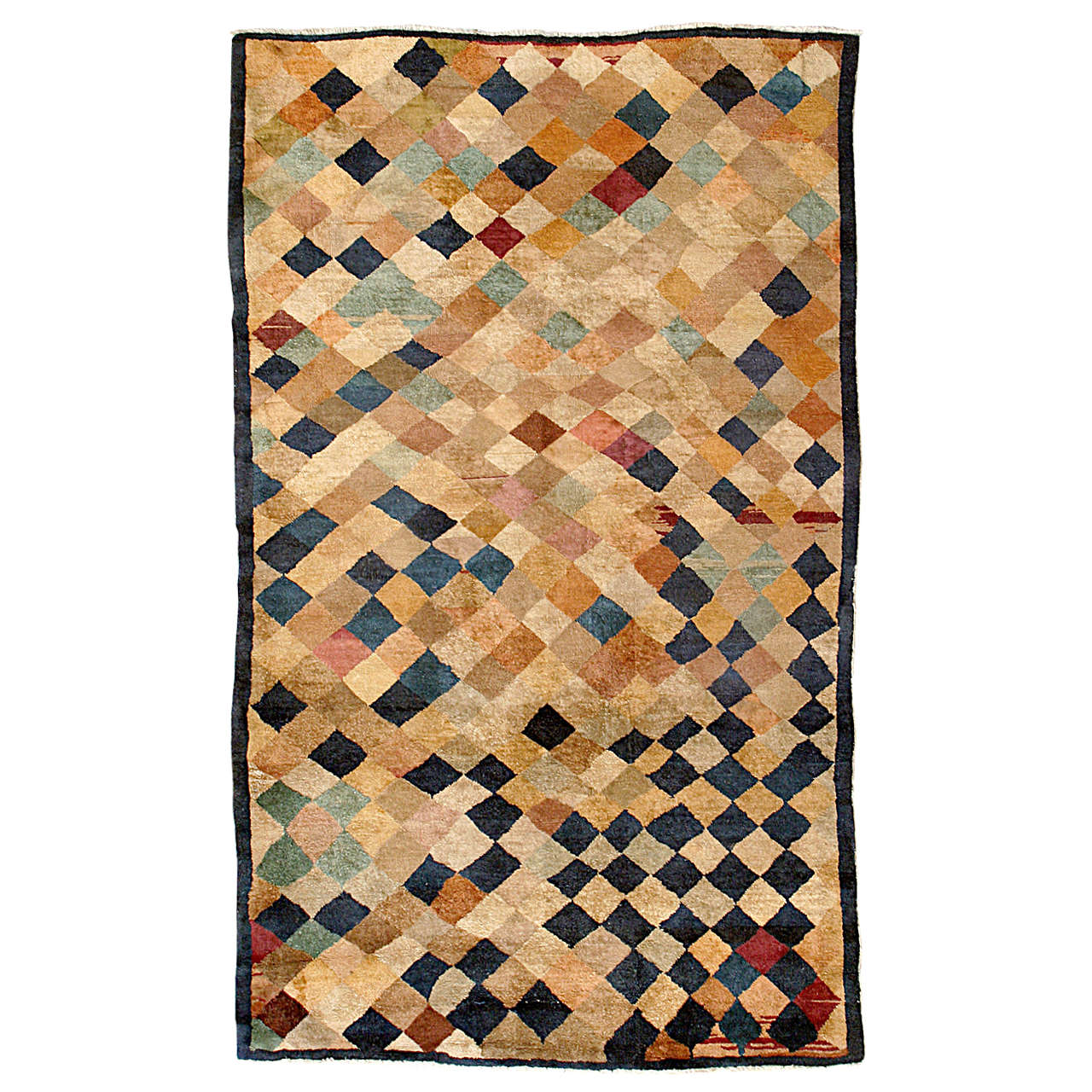 Antique Art Deco Geometric Chinese Rug with Polychrome Lozenges