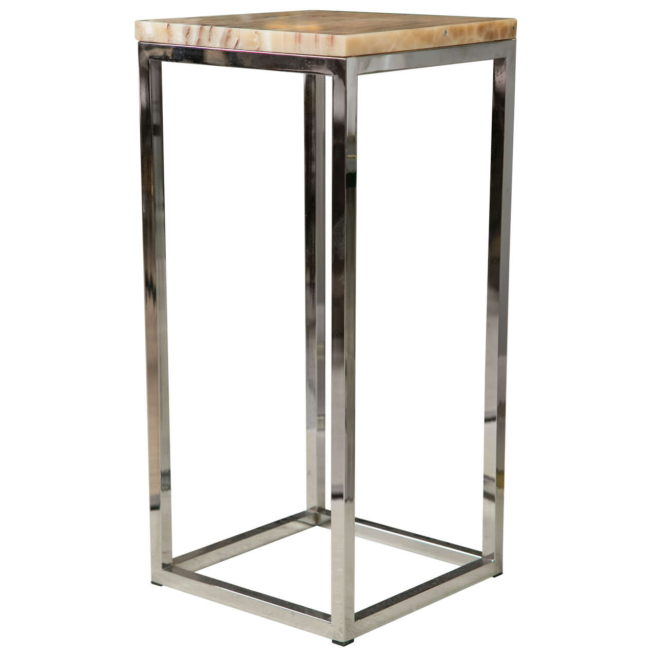 Pedestal Stand by Milo Baughman Chrome and Marble