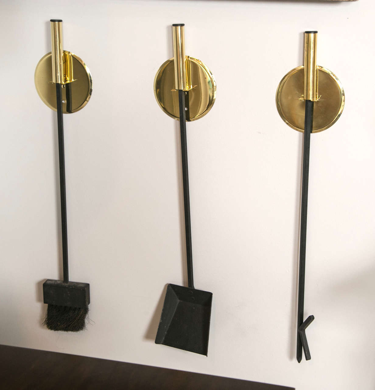Wall Mounted Mid Century Brass Fireplace Tools Set Of