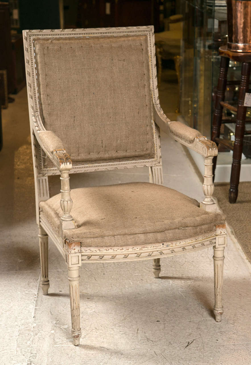 Pair of Good Size French Arm Chairs #037-17.  In original paint with hessian fabric. c1900 .  add piping or studs. or reupholster .