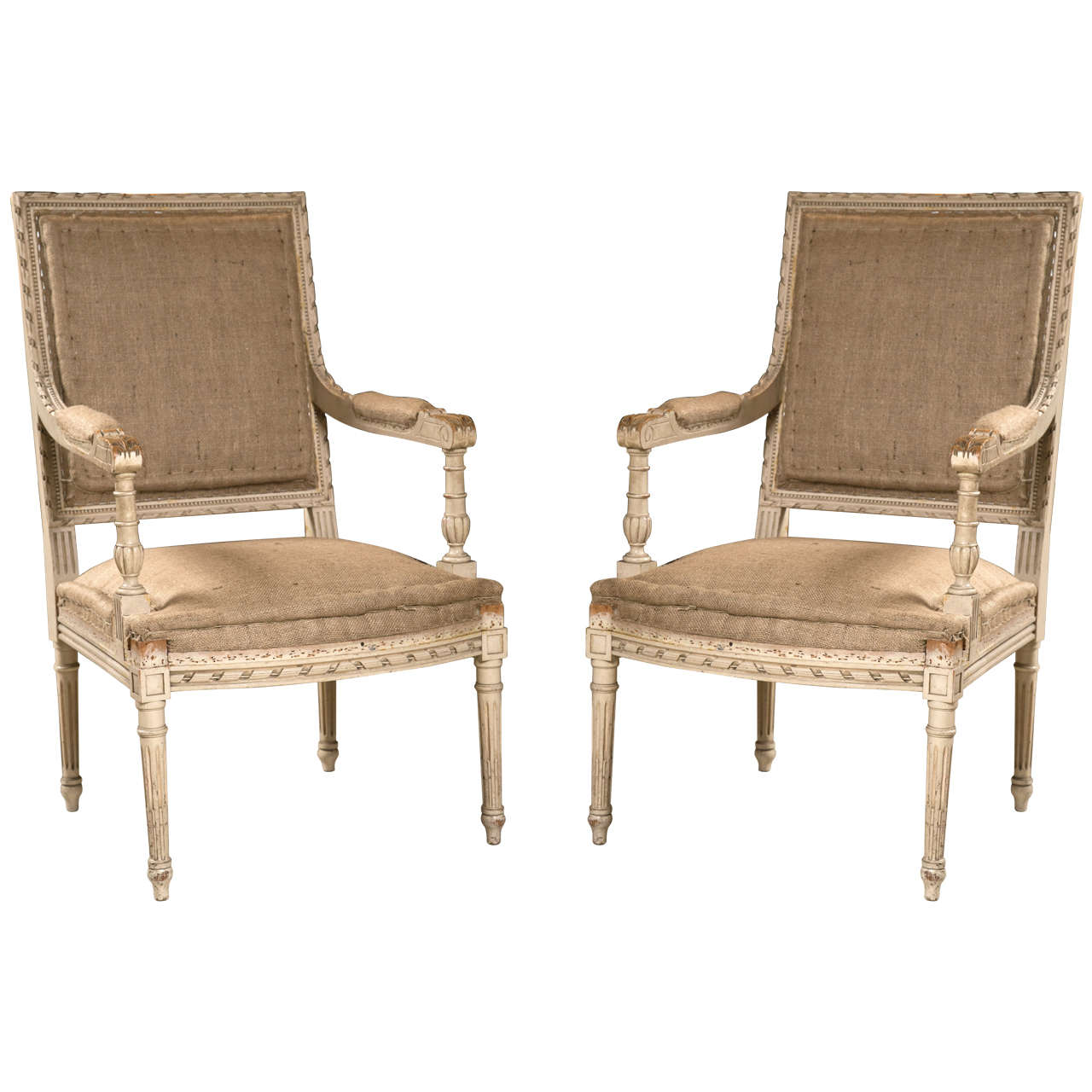 Pair of Good Size French Arm Chairs For Sale