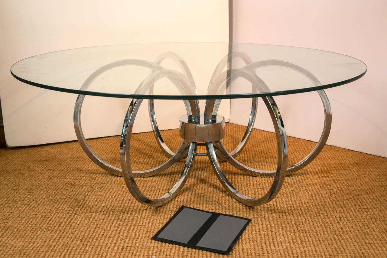 Mid  Century Modern Round Chrome And Glass Coffee Table 3