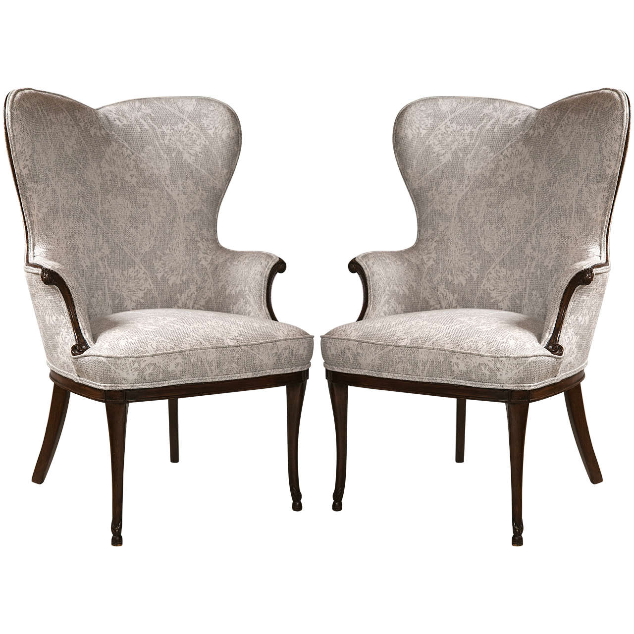 Shaped Chairs: Pair Of French Heart Shaped Wing Chairs In Mahogany Legs