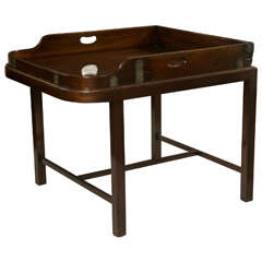 Antique Mahogany Butler's Tray with Brass on custom stand