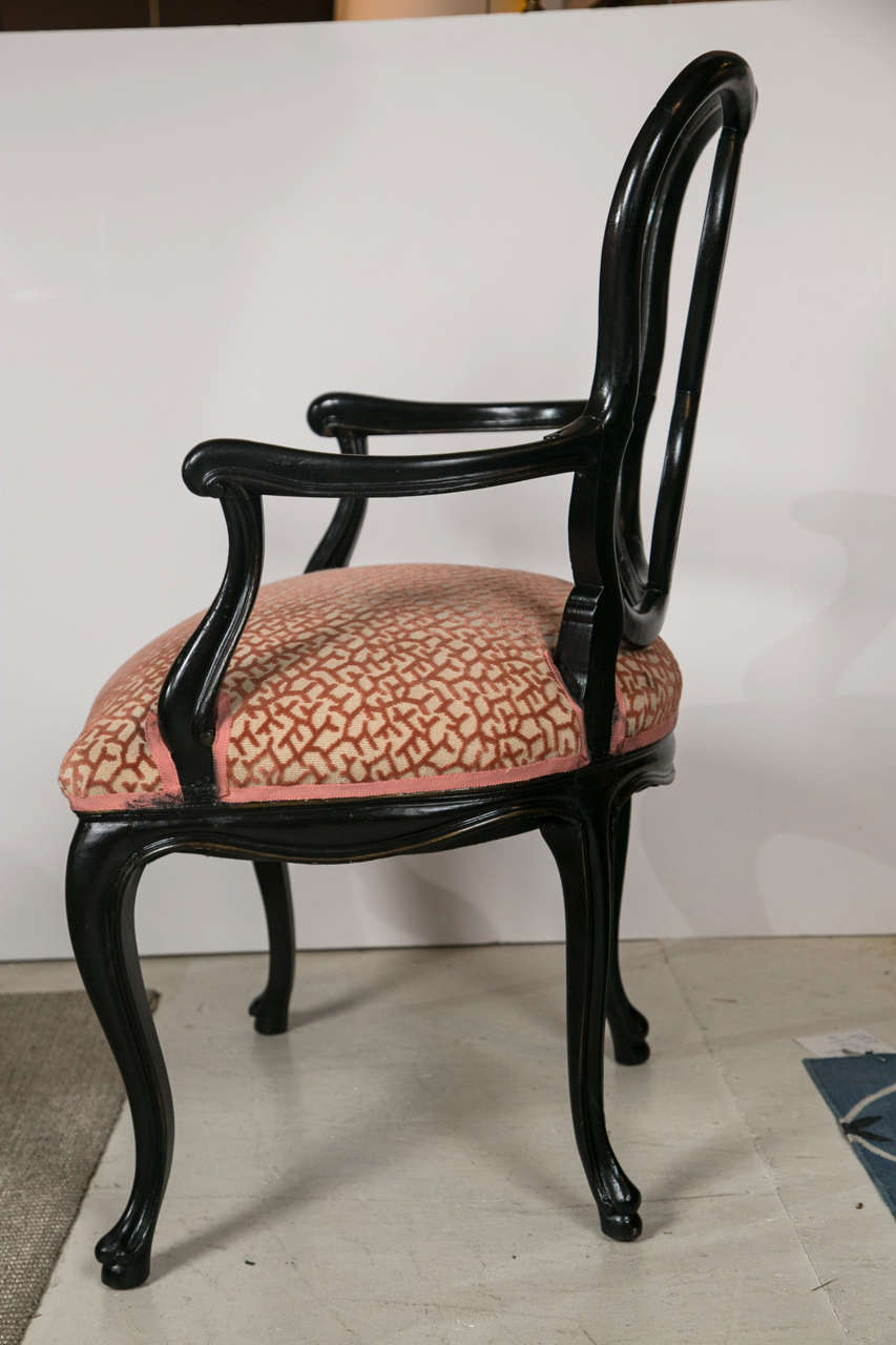 1940s Dining Chairs Upholstered In Coral Velvet Fabric At