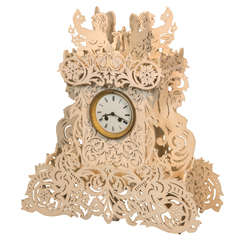 Painted wood whimsical Clock