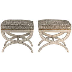 Pair of Upholstered X-frame Stools