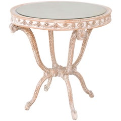 "Italian Occasional Table with Mirrored Top on Carved Wood ""Plume"" Base"