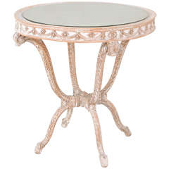 """Italian Occasional Table with Mirrored Top on Carved Wood """"Plume"""" Base"""