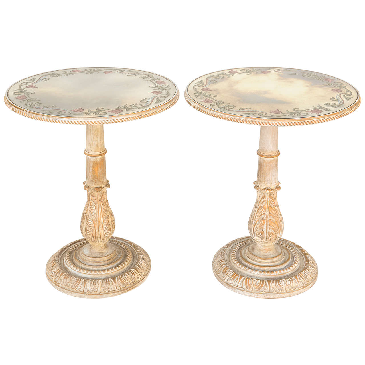 Pair of Italian End Tables with Eglomise Mirrored Tops