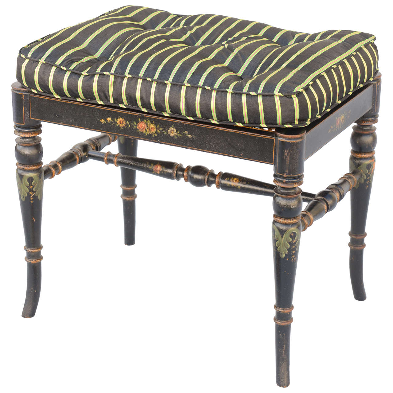Regency Style, Hand Painted Lacquered English Stool