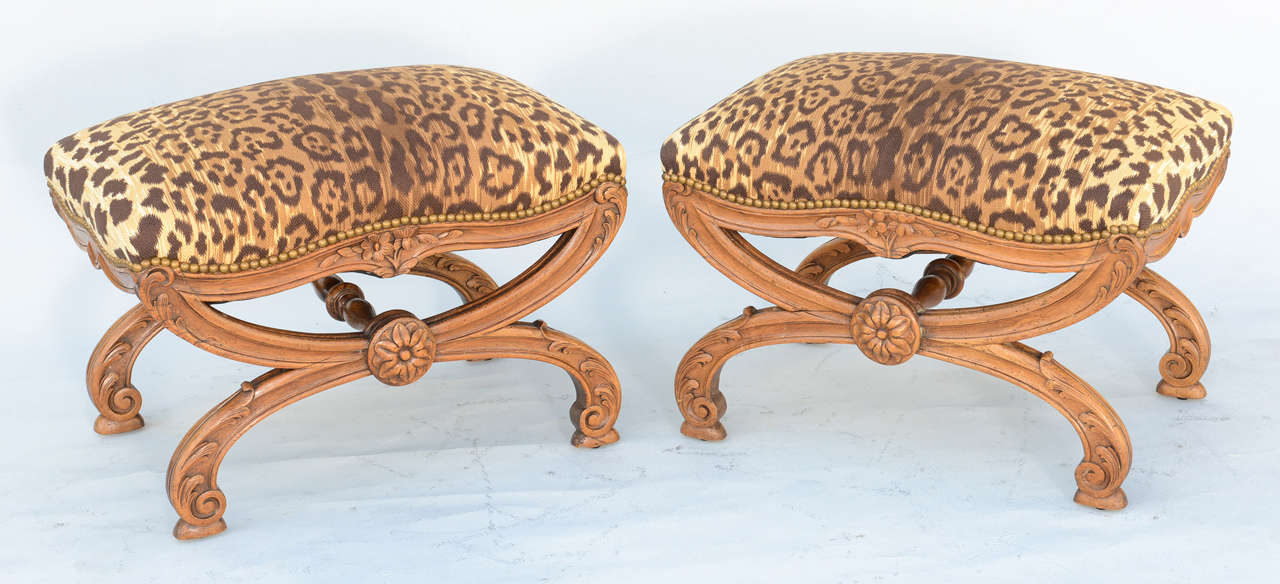19th Century Pair of 19c. Italian Walnut X-frame Stools For Sale