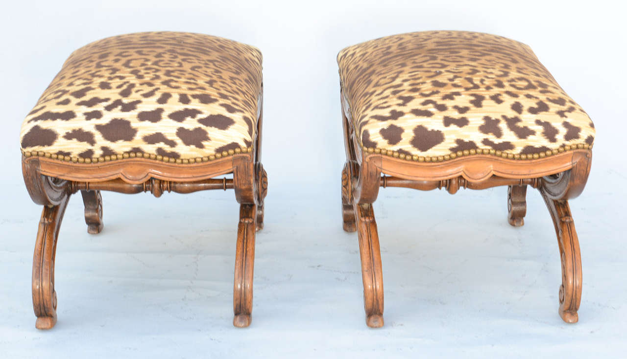Pair of 19c. Italian Walnut X-frame Stools For Sale 1