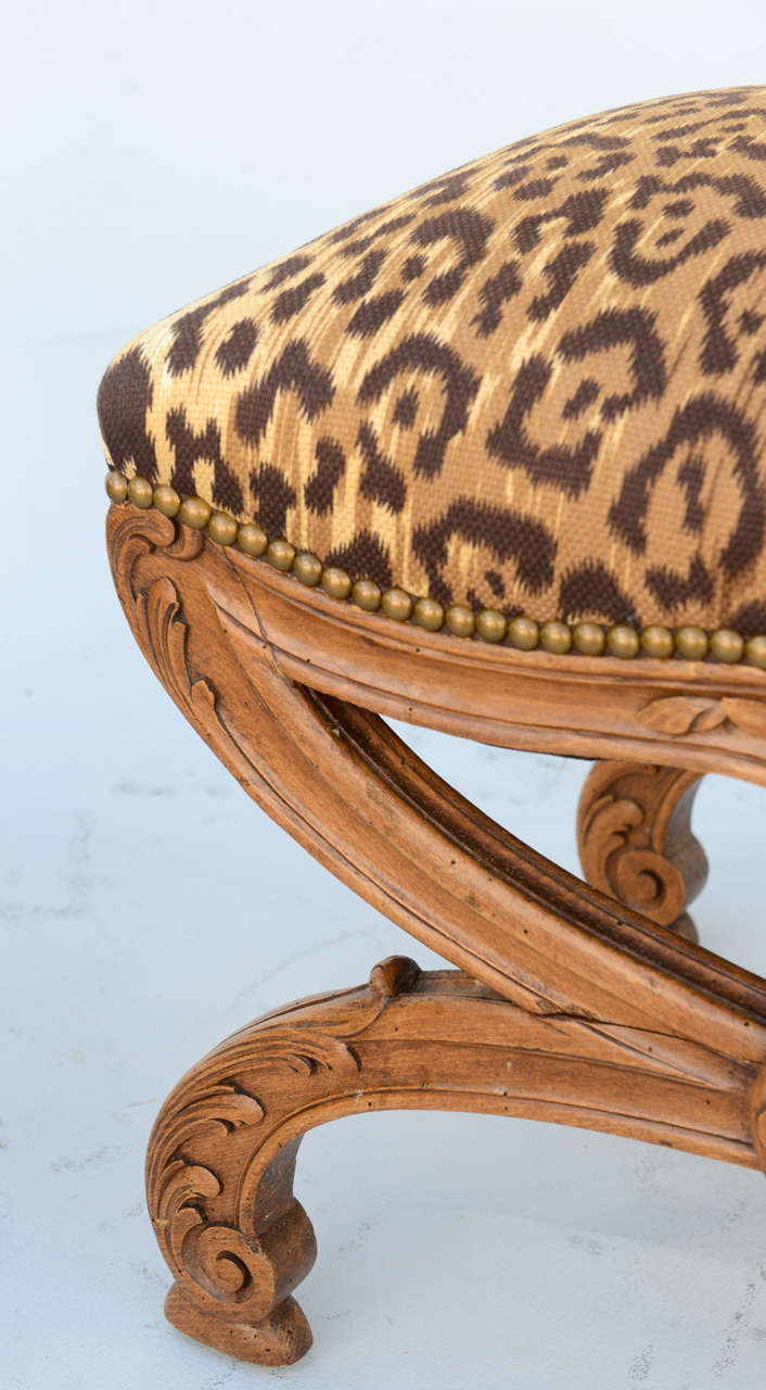 Pair of 19c. Italian Walnut X-frame Stools For Sale 2