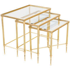 Nest of Three Jansen Style Brass Tables with Original Mirrored Edge Glass Tops