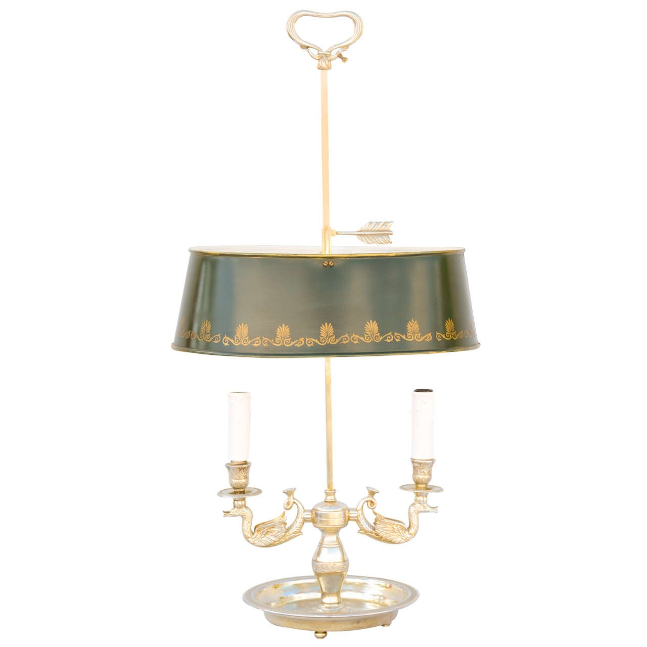 Silverplate Bouillotte Lamp With Oval Tole Shade For Sale