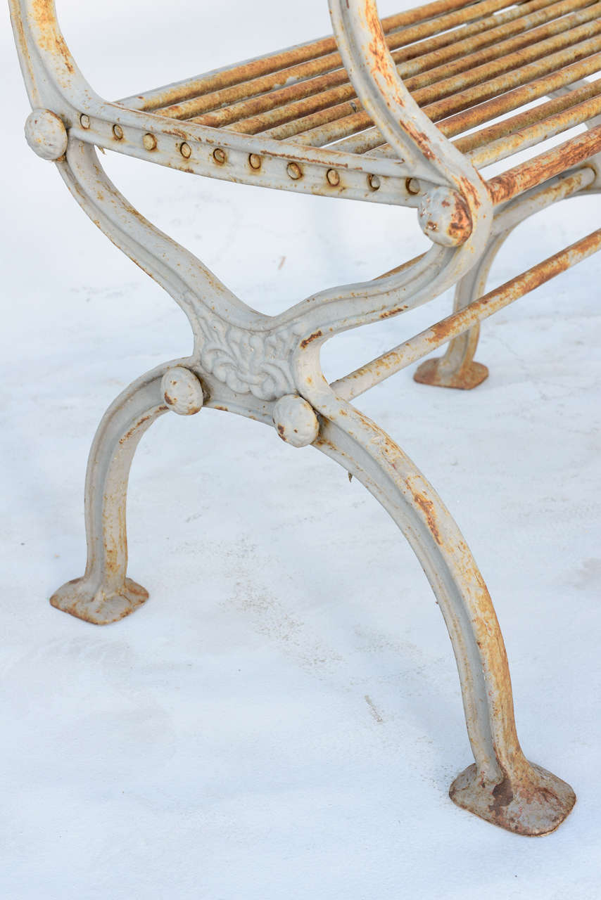 Pair of 19th Century Iron Garden Chairs by Karl Friedrich Schinkel In Distressed Condition For Sale In West Palm Beach, FL