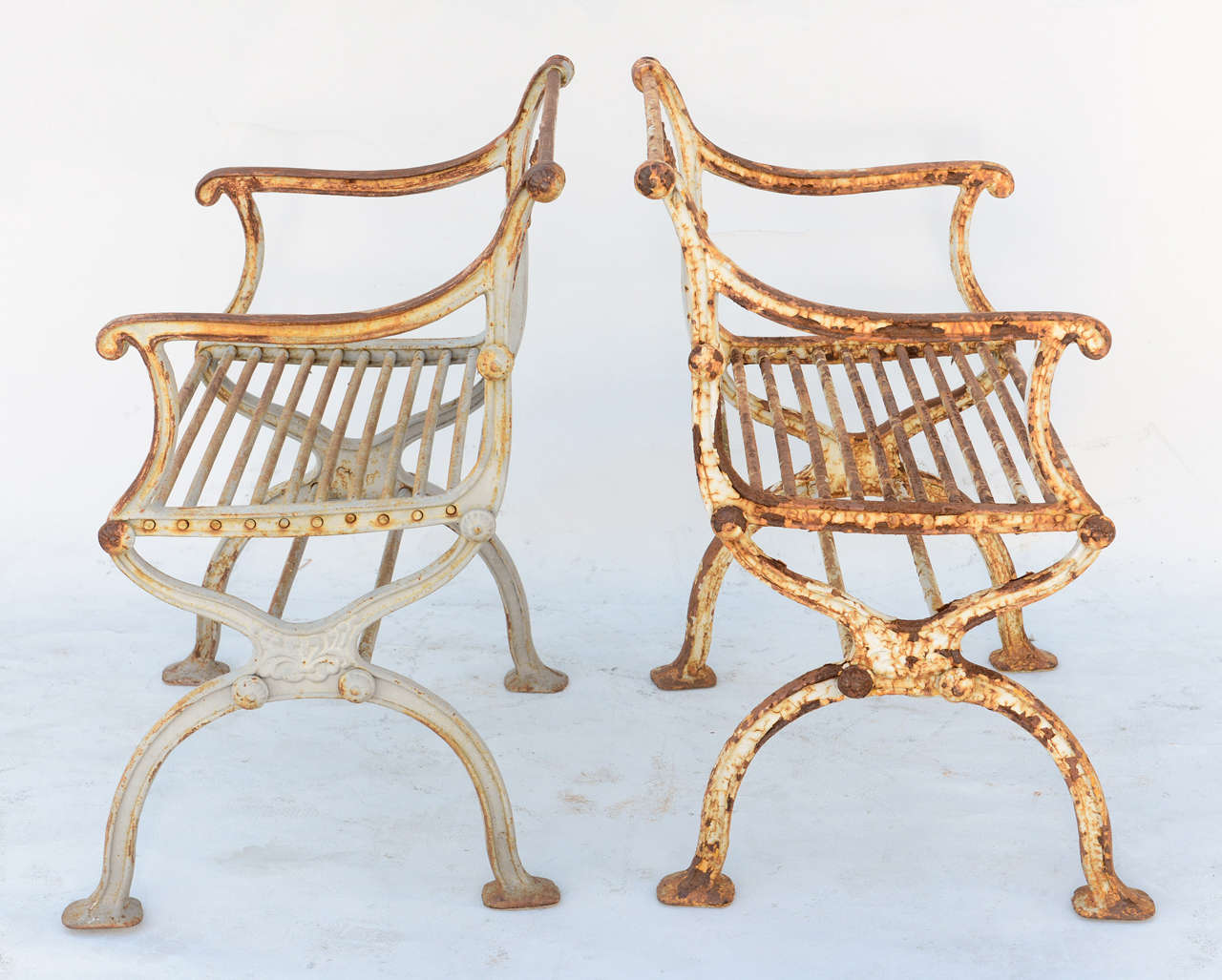 Pair of 19th Century Iron Garden Chairs by Karl Friedrich Schinkel For Sale 1