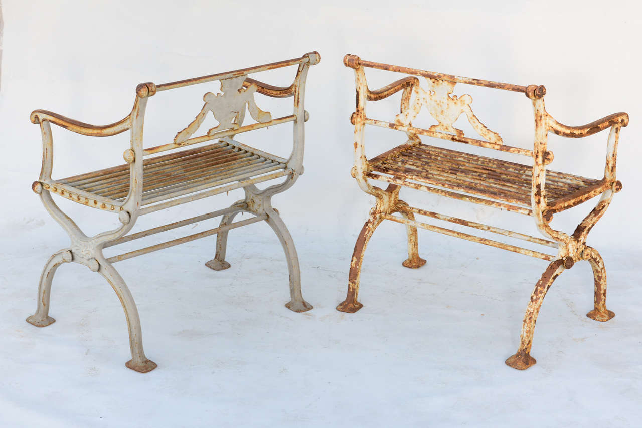 Pair of 19th Century Iron Garden Chairs by Karl Friedrich Schinkel For Sale 2