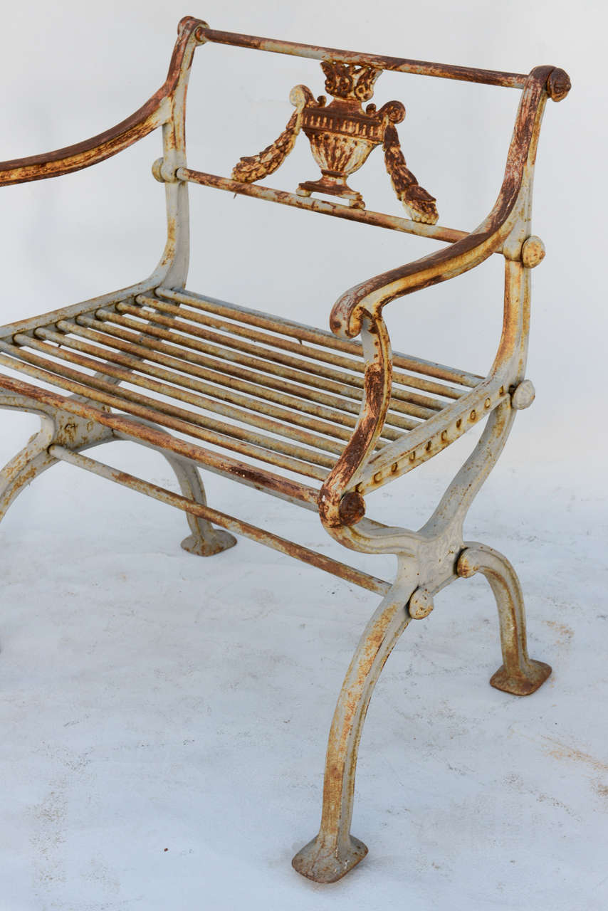 Pair of 19th Century Iron Garden Chairs by Karl Friedrich Schinkel For Sale 4