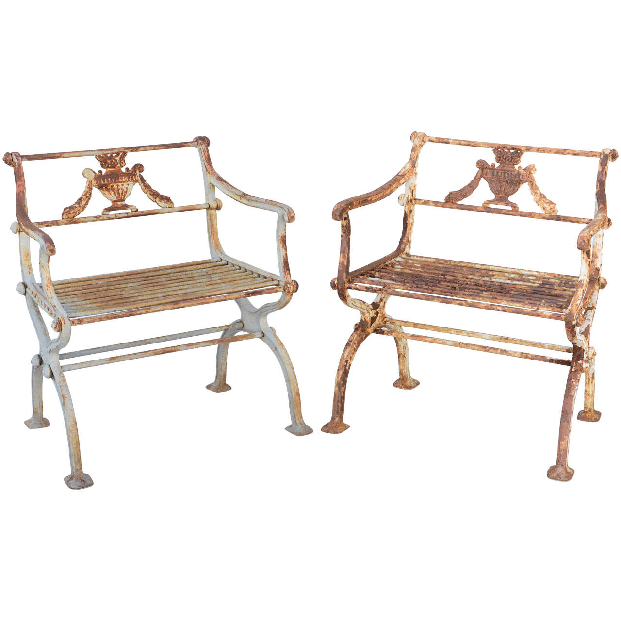 Pair of 19th Century Iron Garden Chairs by Karl Friedrich Schinkel For Sale