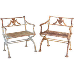 Pair of 19th Century Iron Garden Chairs by Karl Friedrich Schinkel