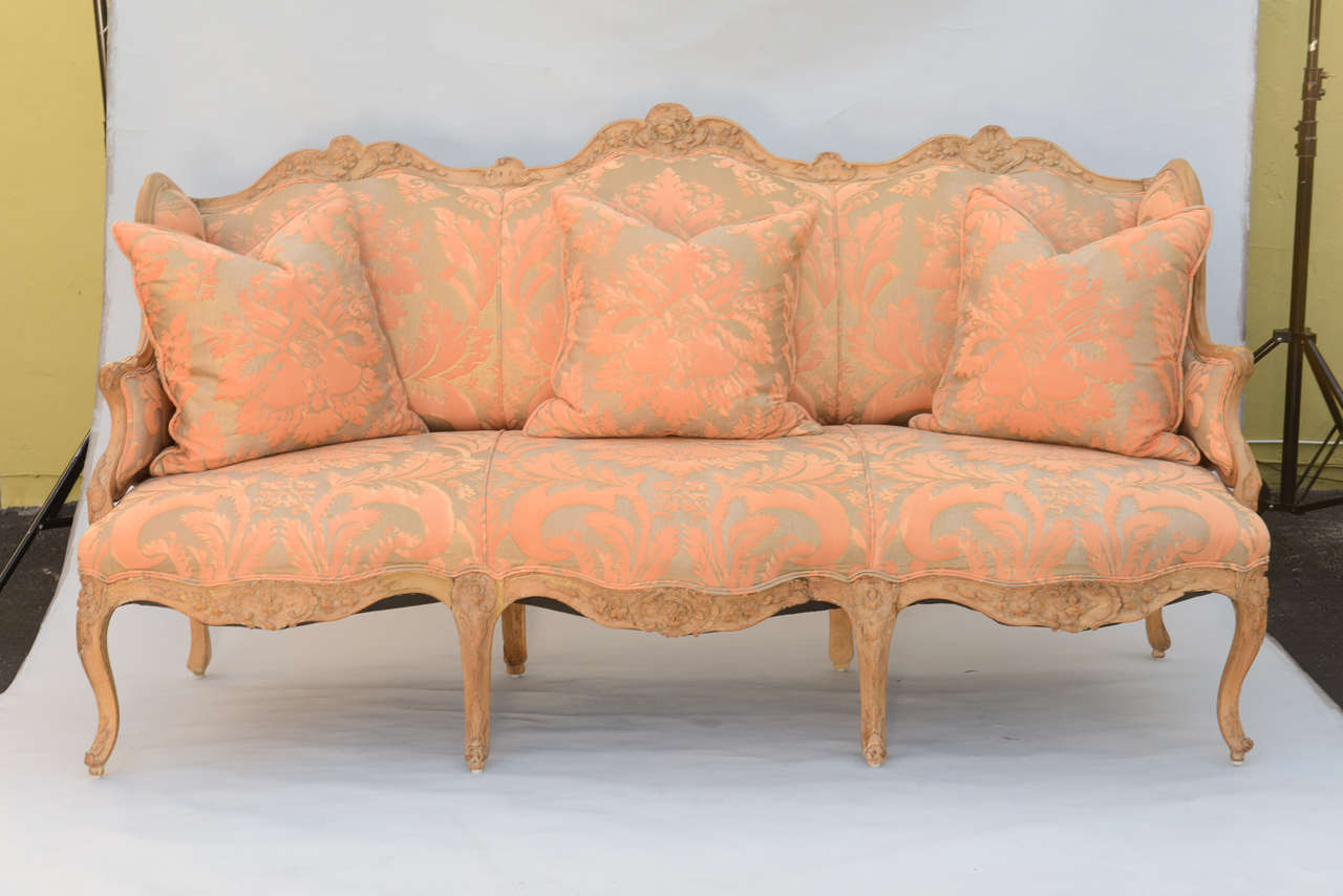 Amazing 19th Century Fortuny Upholstered Louis XV Sofa 2