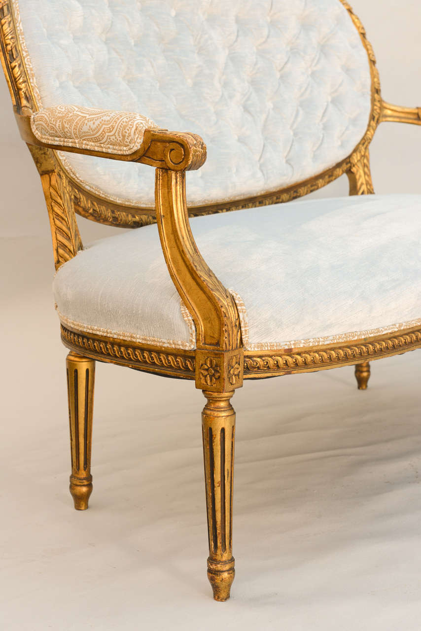 Louis xvi 19th century french giltwood canape settee for for Canape for sale
