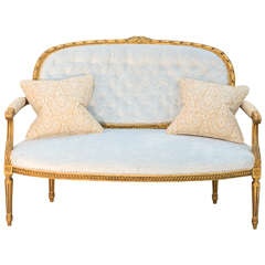 Louis XVI 19th Century French Giltwood Canape Settee