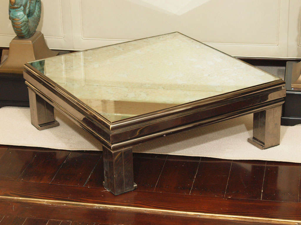 Sale Antiqued Mirrored Coffee Table By Guy Lefevre For Sale At 1stdibs