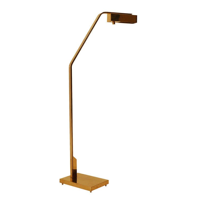 Brass reading floor lamp by casella at 1stdibs for Casella brass floor lamp