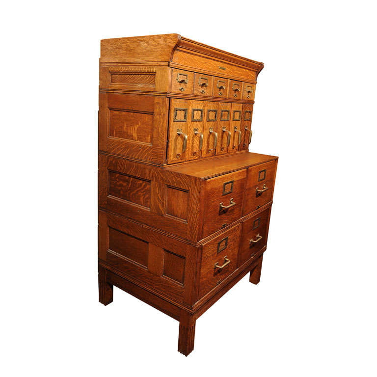 American Oak Multi Drawer File Cabinet/Yawman and Erbe at 1stdibs