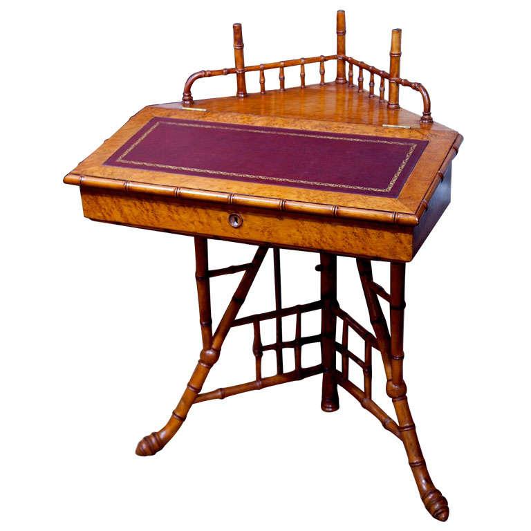 maple faux bamboo corner desk at 1stdibs