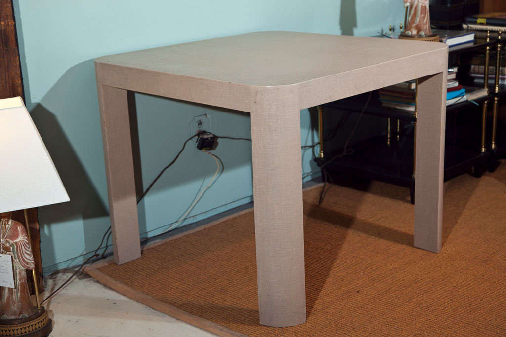 Karl Springer Style Taupe Linen Wrapped Game Table 3