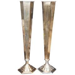 Pair of Tall Elegant Silverplated Vases