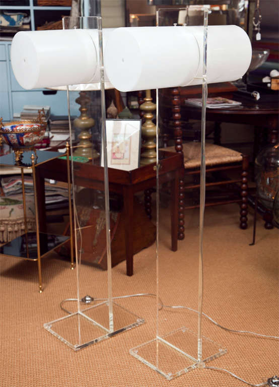 Marvelous Mod Lucite Floor Lamps in the Manner of Neal Small 2