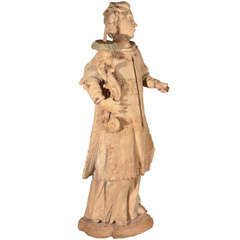 18th Century Carved Wooden Statue of a Torch Bearer