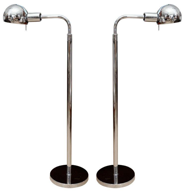 pair of nickel swing arm floor lamps by hansen ny at 1stdibs. Black Bedroom Furniture Sets. Home Design Ideas