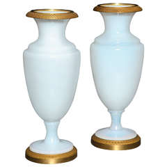 A Fine Pair of Antique French White Opalescent Ormolu Mounted Vases