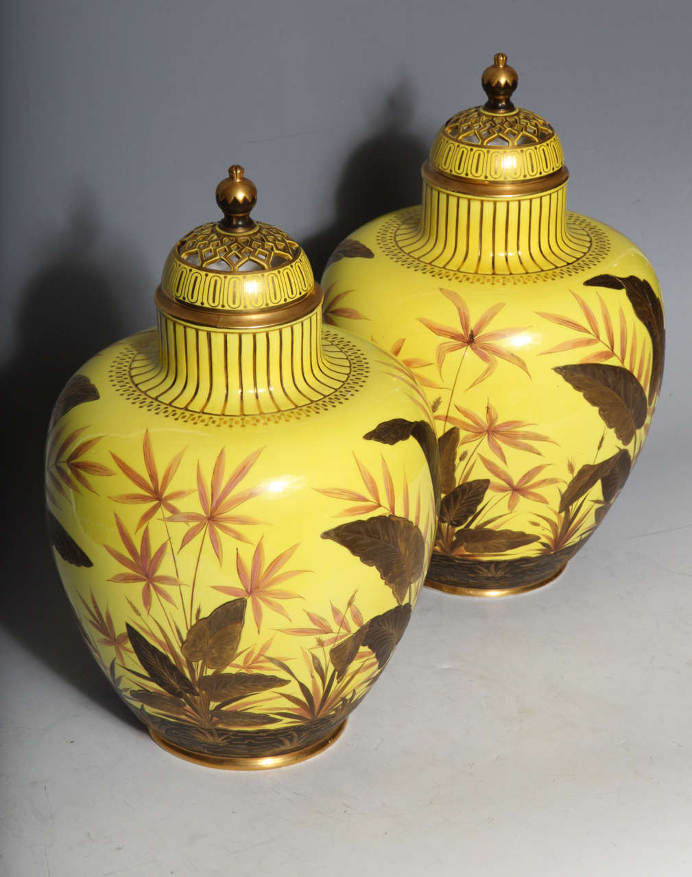 Unusual Pair of Yellow Ground Antique Royal Crown Derby Porcelain Vases For Sale 4
