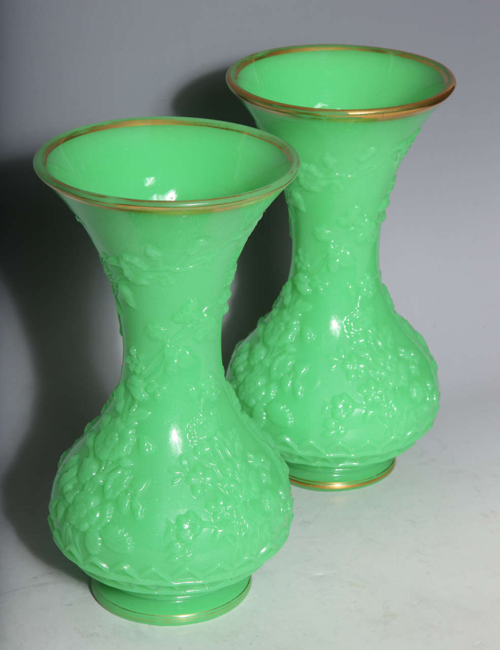 Napoleon III Pair of French Baluster Shaped Opaline Glass Vases attributed to