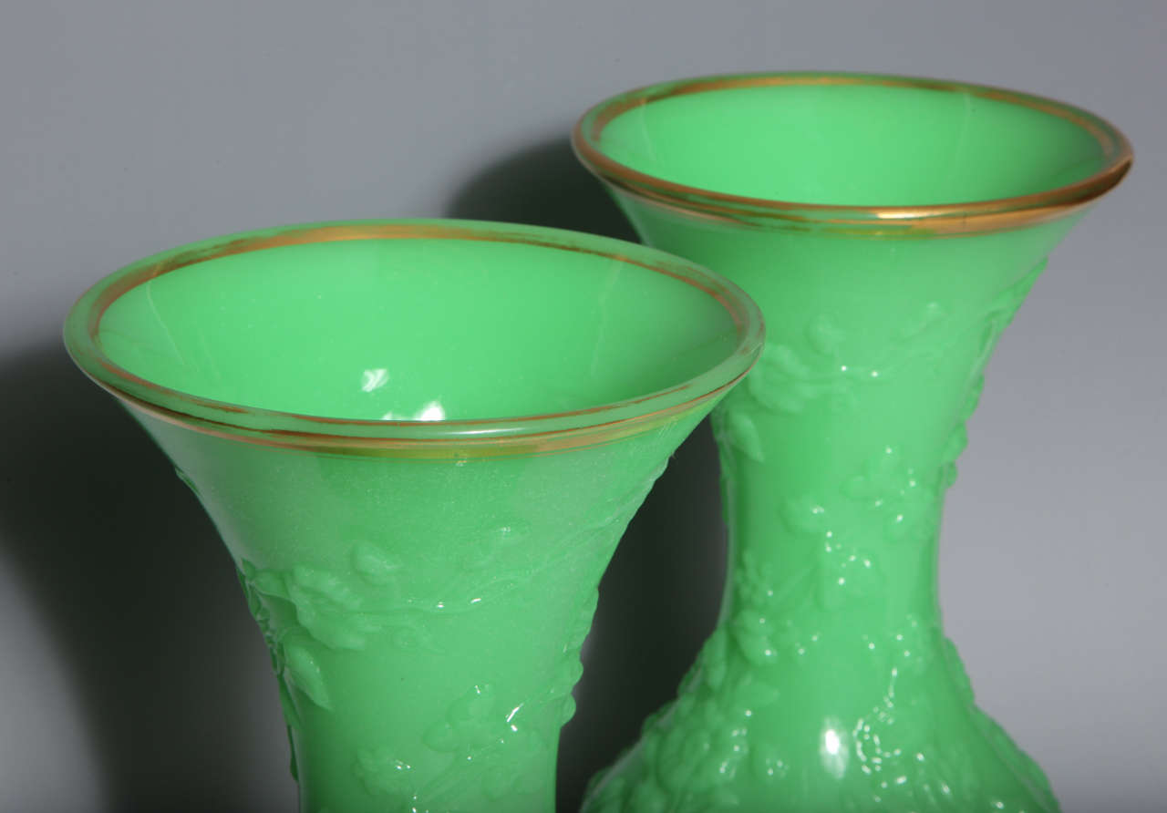 19th Century Pair of French Baluster Shaped Opaline Glass Vases attributed to