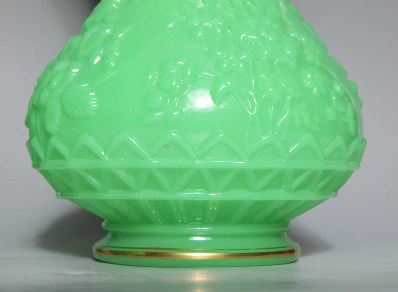 Pair of French Baluster Shaped Opaline Glass Vases attributed to